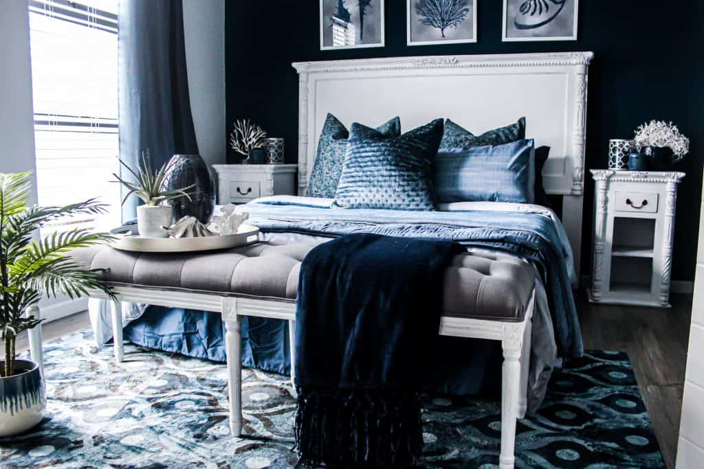 Hollywood Glam Popular Interior Design Style and the Home Decor pieces to have for each of them: Luxurious Hollywood Glam bedroom with tufted bench and velvet cushions