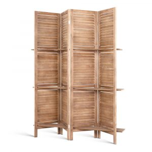 4 Panel Room Wood Divider with Shelves